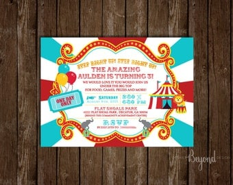 Circus Tent - Big Top - Red and Teal Birthday Invitations with Envelopes - Set of 10