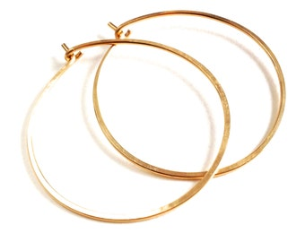 Gold Hoops. Round Hoop Earrings. Hand Hammered Shiny Large Round Simple Flat Gold Hoops.