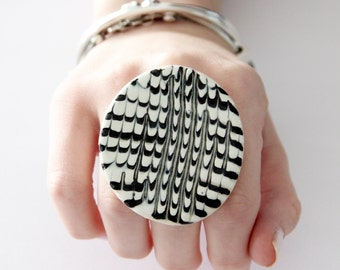 Ceramic ring, Black and White Statement Ring - fashion ring, boho ring, adjustable ring, gift for her, Studioleanne - 2.2 inch