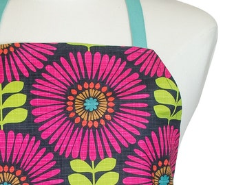 Kitchen Apron | Matching Pot Holders | Mother's Day Gift Set | Bright Pink Floral | Ready To Ship