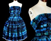 Blue Mid Century Print Cocktail Dress by Alexandra King ooak Small 8 10 - FREE SHIPPING WORLDWIDE