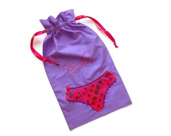 "Mauve Lingerie Bag with ""Knickers"" Hand Embroidered"