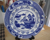 Decorative Wall Plate Blue and White Asian Motif