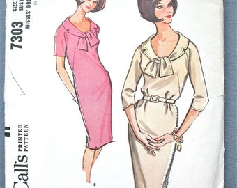 ON SALE McCall's 7303 1960s Vintage OnePiece Dress Pattern Bust 32 inches