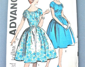 ON SALE  Uncut 1950s or  Early 60s Advance 9678 Misses' One-Piece  Dress Pattern Fitted Bodice  Full Skirt   Vintage Sewing Pattern  Bus