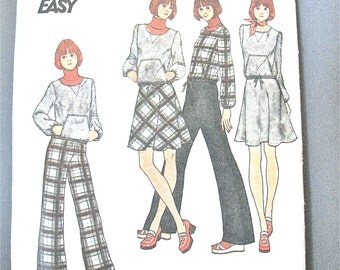 Uncut 70s Butterick 3794 Misses' Top, Skirt & Pants Vinage Sewing Pattern Size 8