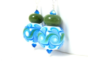 Blue & Green Glass Earrings, Lampwork Earrings, Statement Earrings, Swirl Earrings, Large Round Earrings Funky Earrings, Fun Dangle Earrings
