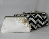 Bridal Clutch - Wedding Clutch - Bridesmaids Clutch - Wedding Purse - Bridal Purse - Bridesmaid Gift - Navy and White Clutch Set of 4