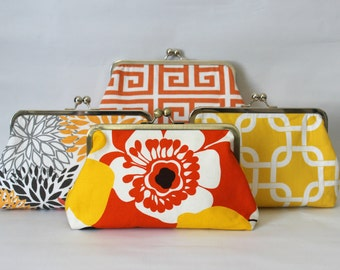 Wedding Clutches - Bridesmaids Clutches - Orange and Yellow Clutches - Wedding Gifts - Bridesmaid Gifts - Floral Clutch Set - Set of 4