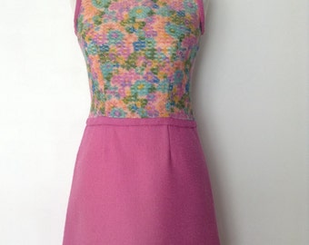 French vintage 1960s woolen pink and floral dress - small S medium M