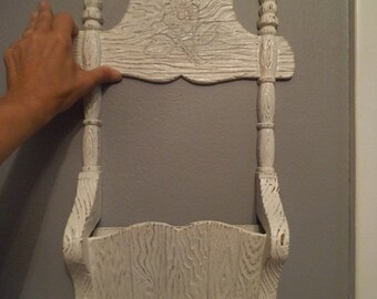 Shabby Chic Distressed Whited Mail Holder Wall hanging ~ Burwood ~ Shabby Chic Fame House