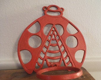 upcycled Red Lady Bug Cast Iron Plant holder ~ Wall hanging Garden Art