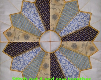 Machine Embroidery Design-ITH-Crazy Quilt Block-Dresden Plate Quarter #02 with 4 sizes included!