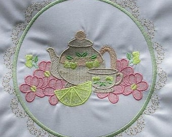 Machine Embroidery Design-Tea Time #12 with 3 sizes Included!