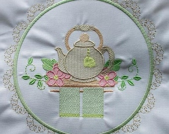 Machine Embroidery Design-Tea Time #10 with 3 sizes Included!