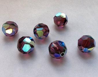 10mm Amethyst AB Swarovski Round Beads - (6)