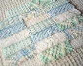 Vintage Aqua, Blue and White Chenille Pre-cut Squares-SWEET