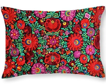 Throw Pillow Hungarian Magyar Matyo Folk Embroidery Photo Print square 14x14 to 26x26 or oblong 20x14 Decorative Accent Pillow Housewares