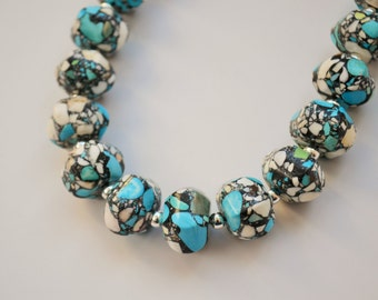 Large Chunky Pressed Stone Turquoise & White Mosaic Bead Statement Necklace