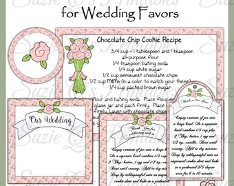 Make your own Wedding Favors ~ Cookie Mix in a Jar -  Includes Label, Tag and Recipe to fit in pint jars - Digital Printable Kit
