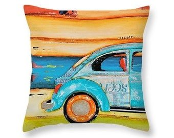 Vw Just Roll With It at the beach throw ART PILLOW, home decor pillow, housewares, distressed, mixed media, collage