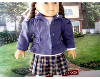Corduroy Pin-wale Jacket for Your Eighteen 18 Inch Doll, Jacket, Doll Clothes by Bon Jean Creations