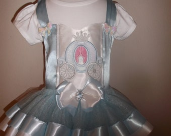 Fairytale Princess in Blue Birthday Tutu With Matching Carriage Hair Bow