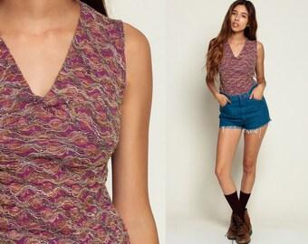 Grunge Tank Top 90s Deep V NECK Stripe Blouse Boho Squiggle Sleeveless Bohemian Hippie Top Textured Shirt 1990s Vintage Summer Purple small