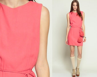 1960s Mini Dress Belted POM POM High Waist Mod Party Salmon Pink 60s Mad Men Simple Pencil Straight Vintage Sleeveless Small Medium