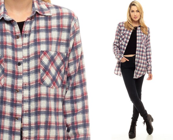 Oversized Flannel Shirt 80s Plaid Shirt Red White Blue Grunge