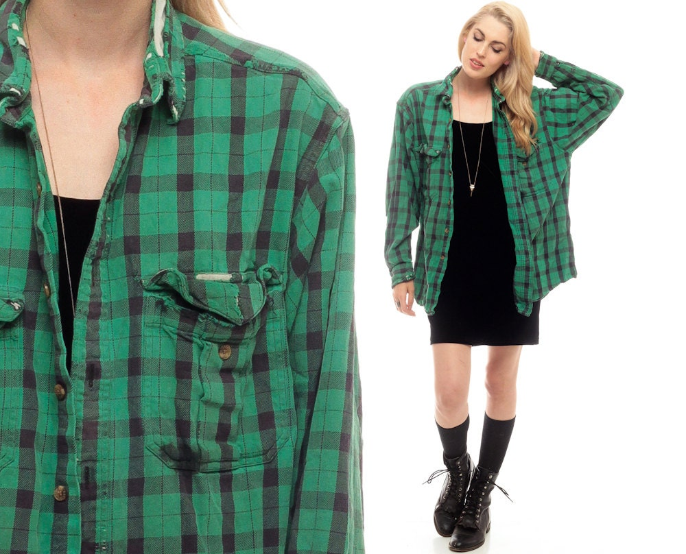 90s plaid shirt green flannel shirt grunge button up by for Green and black plaid flannel shirt