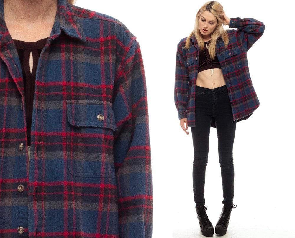 Blue flannel shirt 90s plaid grunge lumberjack navy by for Navy blue and red flannel shirt