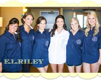 Set of 6 Monogram Bridesmaid Shirt, Personalized Bridesmaid Gift, Button Down Boyfriend Getting Ready Shirt