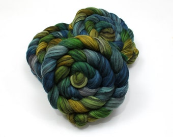Merino Wool/ Silk Roving - Handpainted Roving for Spinning or Felting
