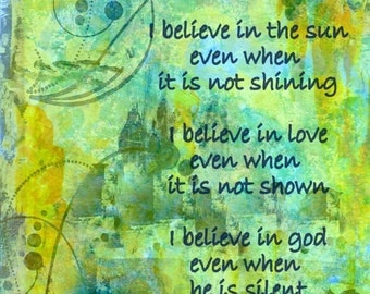 Art Print I believe 8x10 photo art print