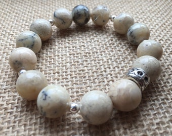 Howlite and silver big bead stretch bracelet