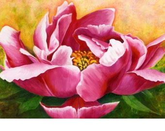 Original Oil Painting Peony Pink and White Petals Flower