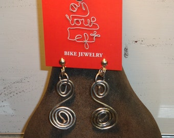 Bike Spoke Earring-Boho-Casual-Beach-Festival,-Urban- Sustainable- Repurposed-Recycled-Reused-Unique-Eco-friendly