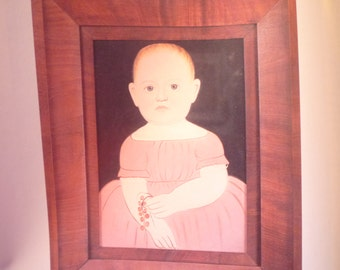 Folk Art Portrait - Infant in a Pink Dress - - Folk Art Print - 1840 by William Matthew Prior