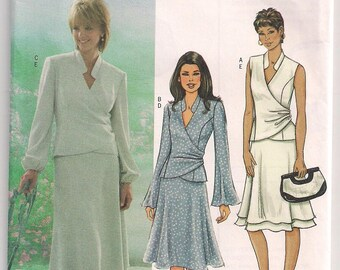 Misses Top and Skirt Butterick 4066, Semi Fitted Top, Long Sleeves, Sleeveless, Front Side Gathers, Bias Skirt w Flounce, 8 10 12 Uncut