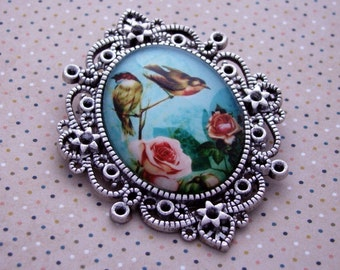 Spring is in the air glass Cameo brooch pendant