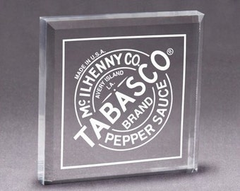 Personalized Acrylic Square Paperweight/Cake Topper/Keepsake - Laser Engraved