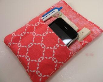 Nurse scrubs pocket organizer, purse organizer, lab coat pocket organizer- New design - Made to order- Coral and White Eyelet Geo Print