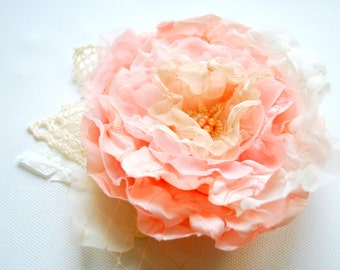 ivory cream pink bridal hair flower, weddings accessories, bridesmaids pink headpiece, bridal pink hair clip, corsage, sash, shabby chic
