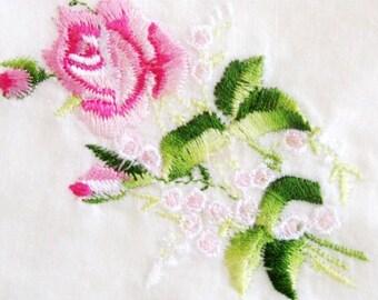 Vintage Handkerchief Embroidered Pink Rose Spray Green Wedding