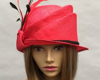 Sabrina, Kentucky Derby hat, beautiful parasisol straw hat, cloche, womens millinery flapper hat Downton Abbey, red