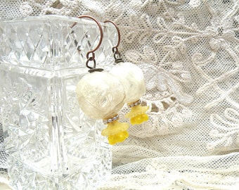 earrings daffodil petite flower spring assemblage dangle shabby chic short chubby