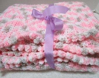 Beautiful Vintage Handmade Baby Girl Crochet Afghan, Pristine Pink Gray White Yarn, Security Blanket Nursery Snuggly, Old Fashioned Grandma