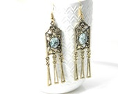 Vintage dangle earrings, bohemian gypsy, brass and tree agate cabochon. Tribal hippie chic trending fashion
