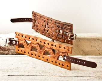 Tooled Leather Bracelets Leathercraft Leatherwork Brown Leather